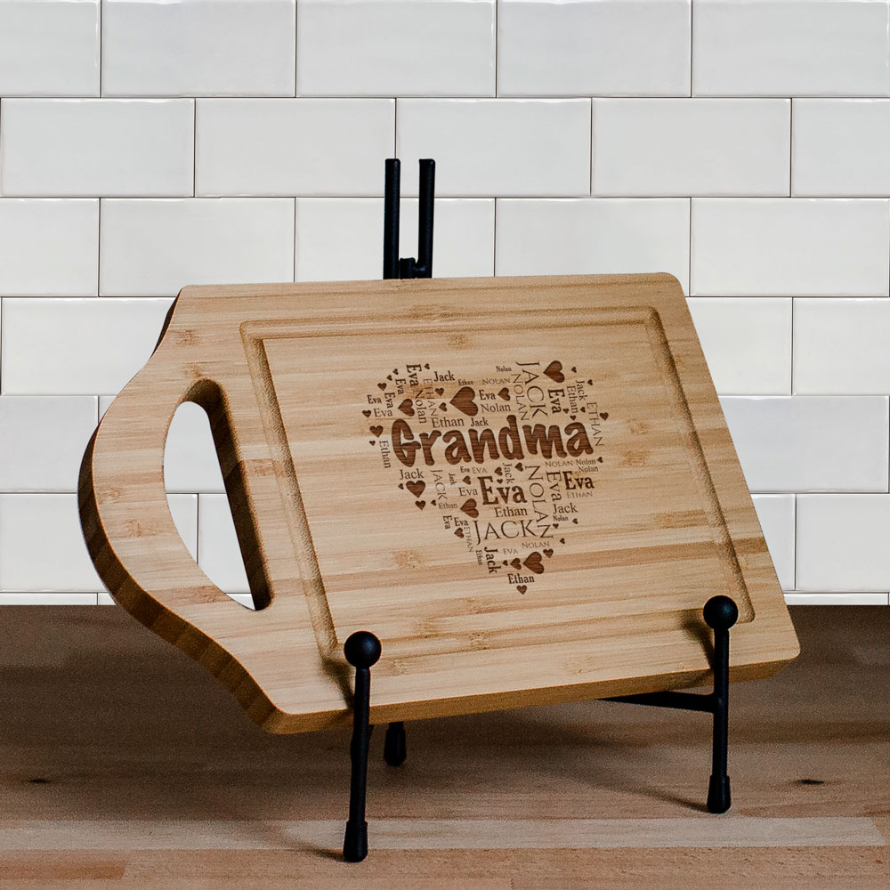 Engraved Grandma's Heart Word-Art Cutting Board | Personalized Gifts for Grandma