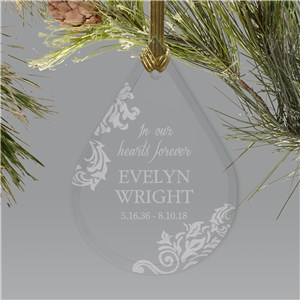 Engraved In Memory Of Tear Memorial Ornament | Personalized Memorial Ornaments