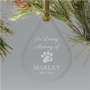 Engraved Pet Memorial Teardrop Ornament | Pet Memorial Ornaments