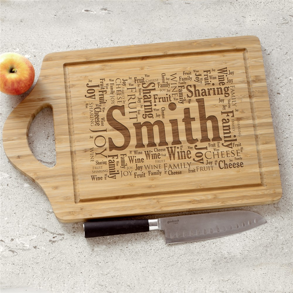 Engraved Family Sharing Word-Art Bamboo Cheese Carving Board | Personalized Cutting Boards