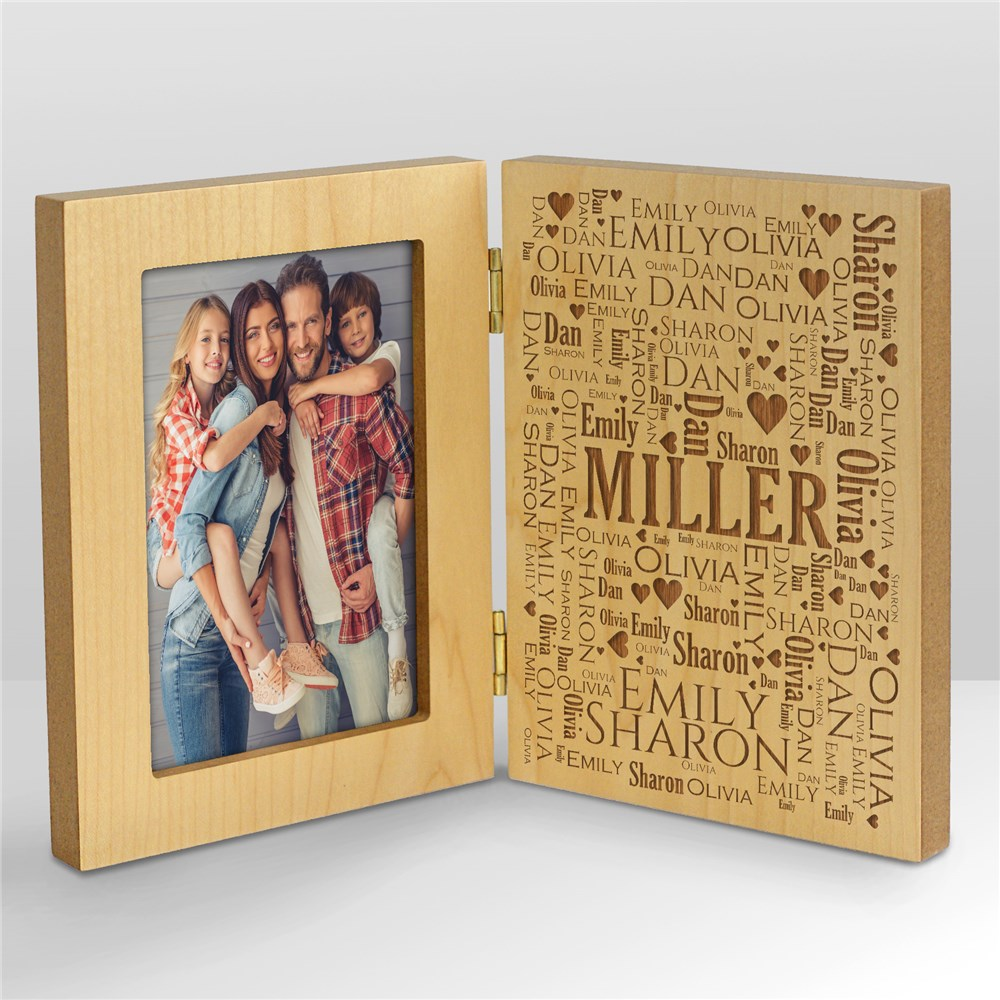 Engraved Family Word-Art Hinged Wood Frame | Father's Day Picture Frames