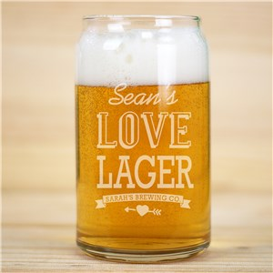 Engraved Couple's Beer Can Glass | Personalized Valentine Gifts For Him