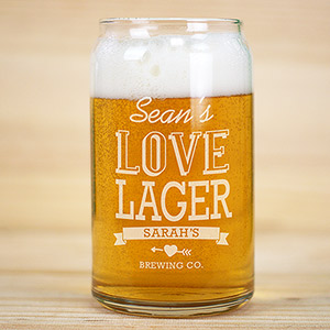 Engraved Couple's Beer Can Glass