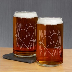 Engraved Carved Initial Beer Can Glass Set | Romantic Home