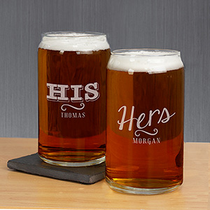 Engraved His or Hers Beer Can Glass Set | Romantic Home