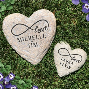 Engraved Infinity Heart Garden Stone | Romantic Home