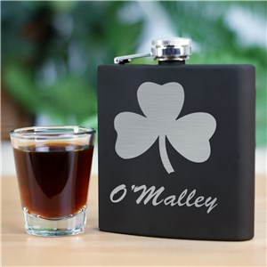 Irish Black Matte Flask | Engraved Flasks