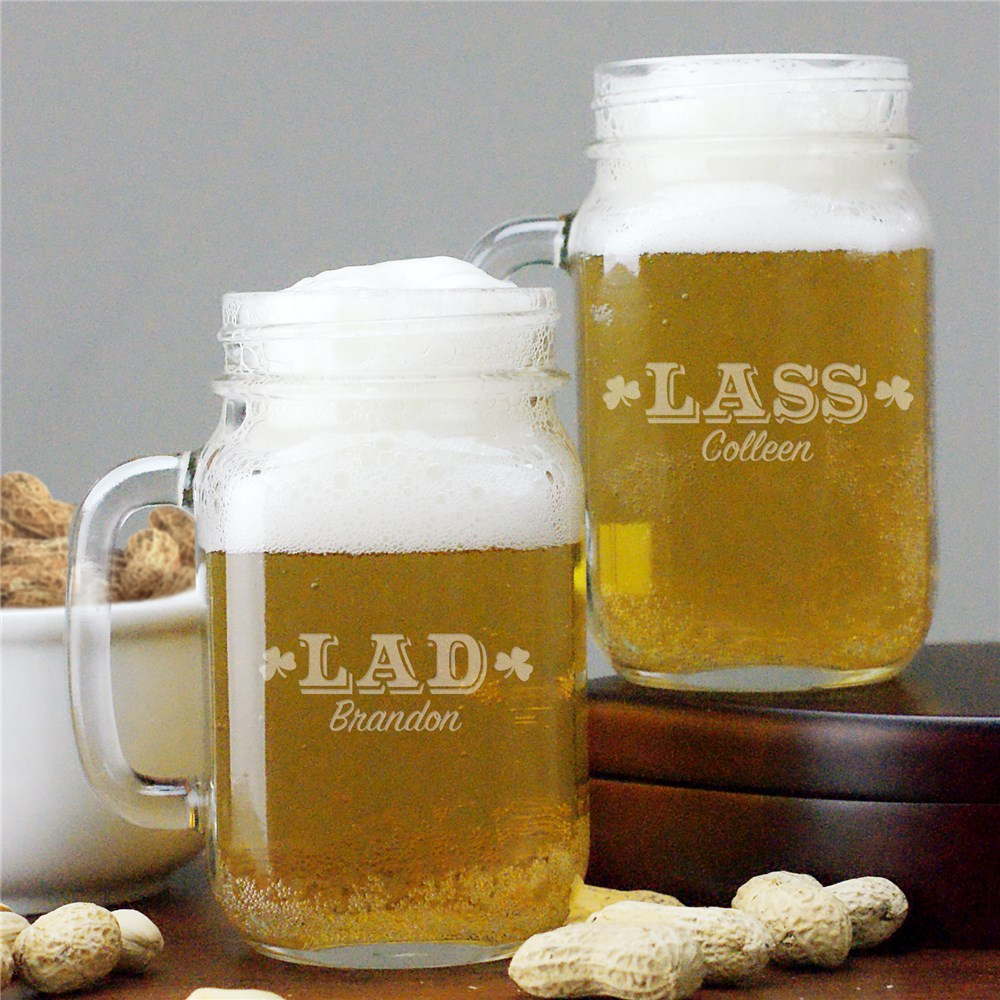 Personalized Irish Mason Jar Set | Irish Drinking Glasses