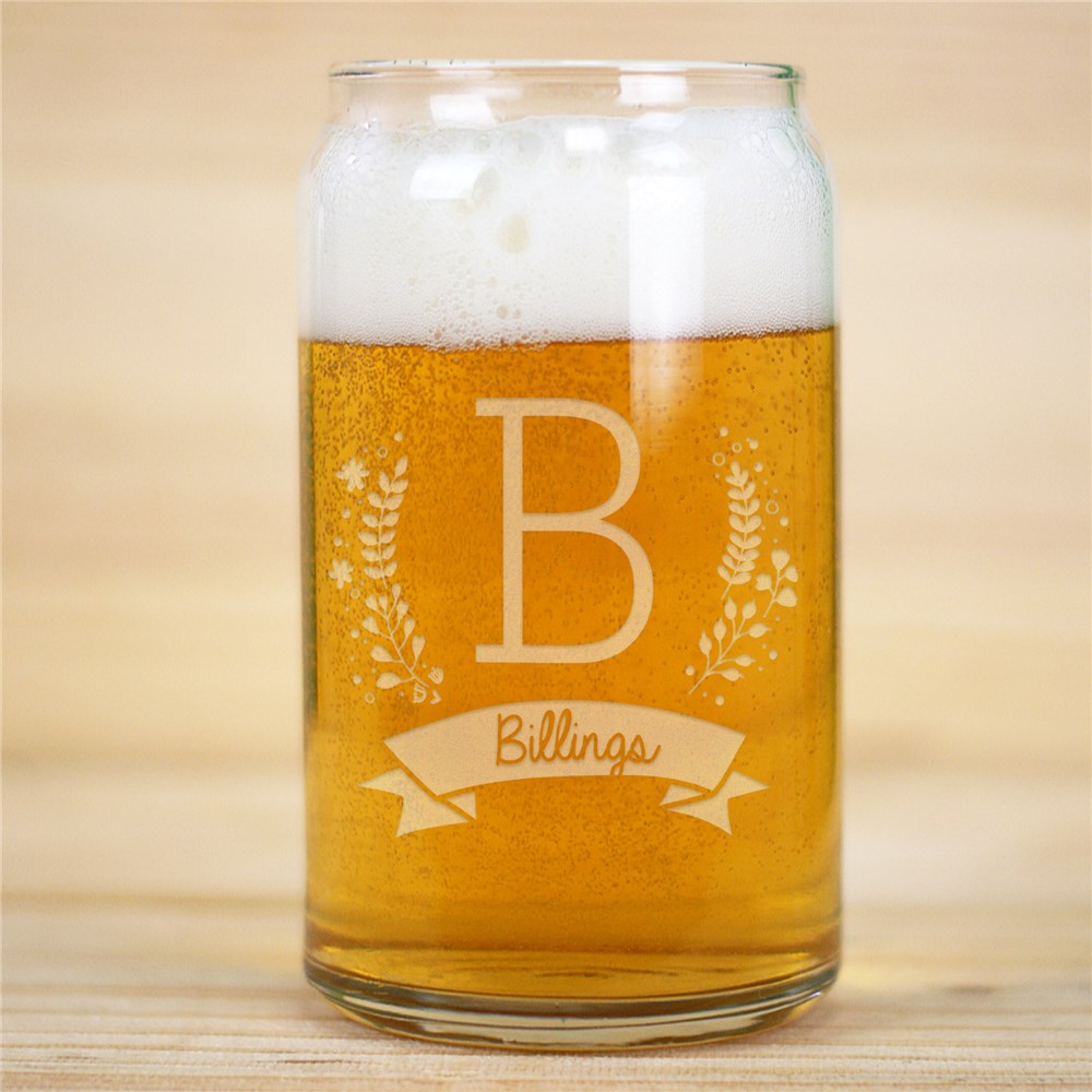 Engraved Family Initial Beer Can Glass | Father's Day Gift