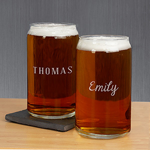 Any Name Engraved Beer Can Glass