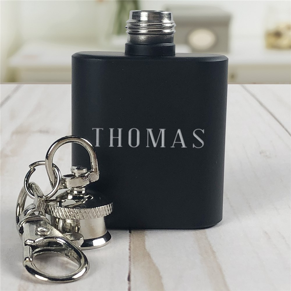 Any Name Engraved Mini Flask Key Chain| Personalized Groomsmen Flasks