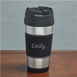 Engraved Any Name Black Leather Travel Mug | Personalized Travel Mugs