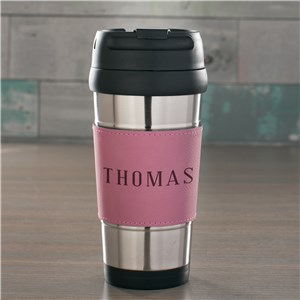 Engraved Any Name Pink Leather Travel Mug | Personalized Travel Mugs