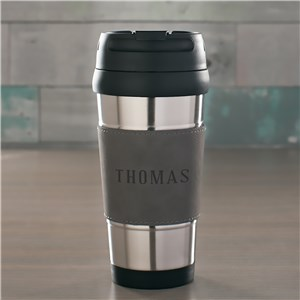 Engraved Any Name Grey Leather Travel Mug | Personalized Gifts For The Traveler