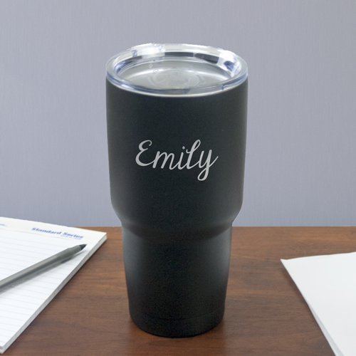 Engraved Any Name Matte Black Tumbler | Personalized Travel Mugs