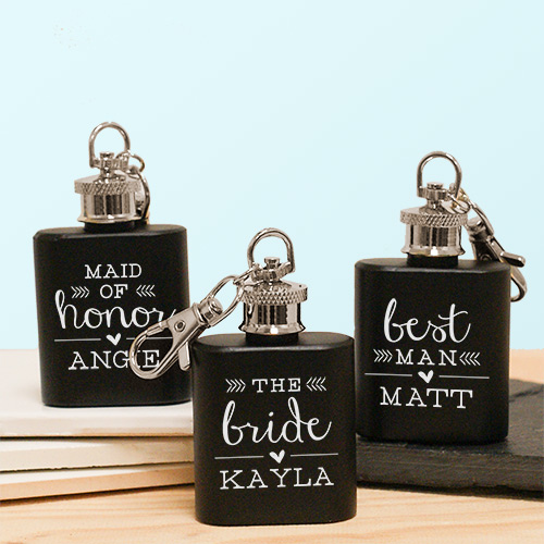 Engraved Wedding Party Mini Flask | Personalized Groomsmen Flasks