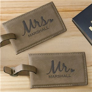 Engraved Mr. & Mrs. Leather Luggage Tag L9442120