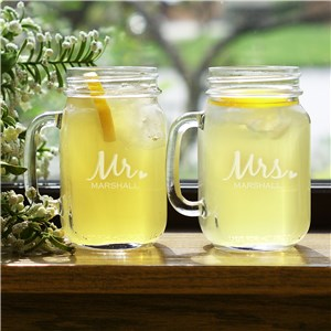 Engraved Mr. & Mrs. Mason Jar Set | Personalized Couple Gifts