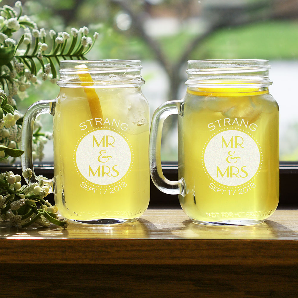 Mr. & Mrs. Engraved Mason Jar Set | Romantic Home