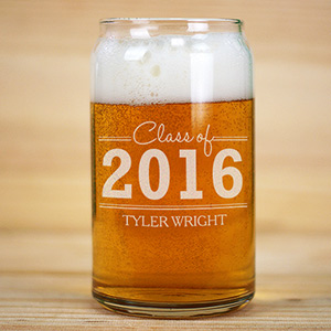 Personalized Graduation Beer Can Glass