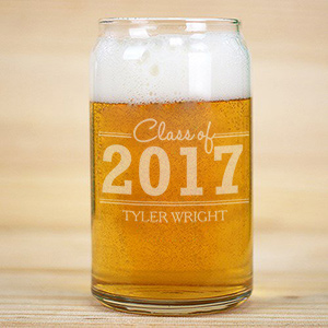 Personalized Graduation Beer Can Glass L9444118