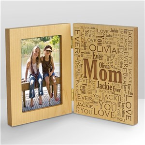 Engraved Family Word-Art Hinged Wood Frame | Mother's Day Picture Frames