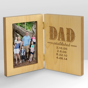 Engraved Dad Established Wood Frame