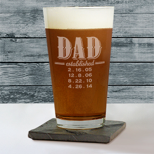Engraved Dad Beer Glass | Personalized Father's Day Gifts