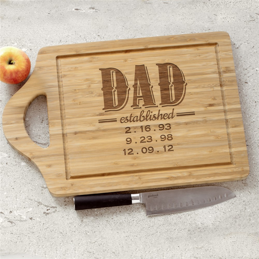Engraved Dad Bamboo Cutting Board | Grilling Gifts for Dad