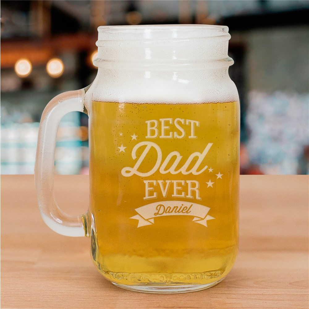 Engraved Best Dad Ever Mason Jar | Personalized Father's Day Gifts
