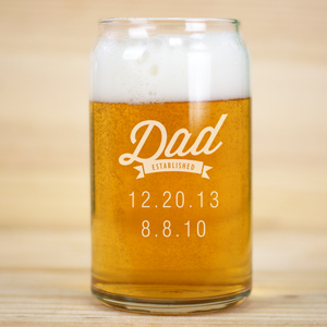 Personalized Dad Established Beer Can Glass | Bar Gifts for Dad