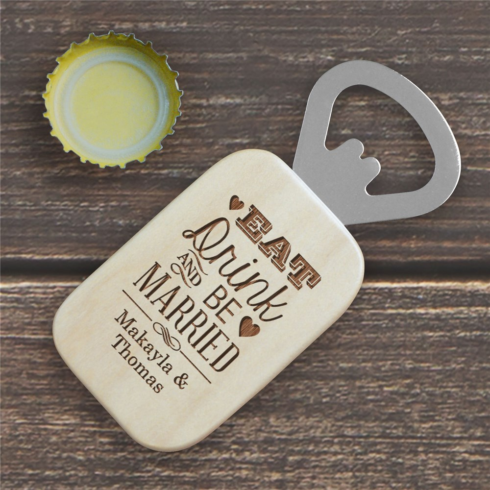 Engraved Newlywed Maple Bottle Opener | Personalized Couple Gifts