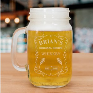 Engraved Whiskey Mason Jar | Personalized Barware