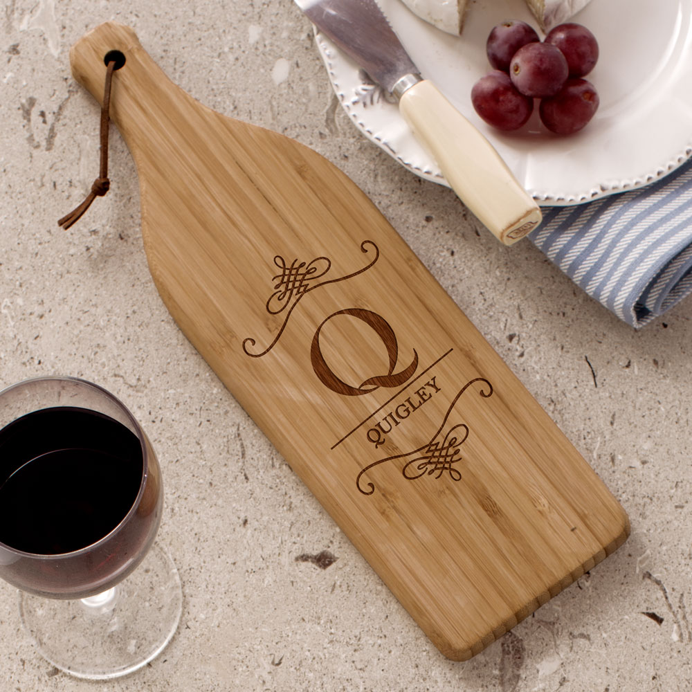 Engraved Family Wine Bottle Cutting Board | Personalized Cutting Board