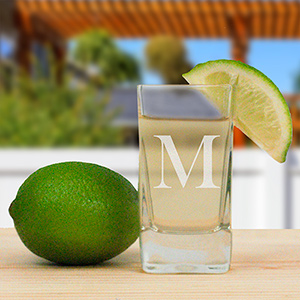 Personalized Initial Square Shot Glass | Personalized Father's Day Gifts