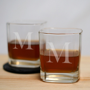 Personalized Initial Rocks Glass – Set of 2