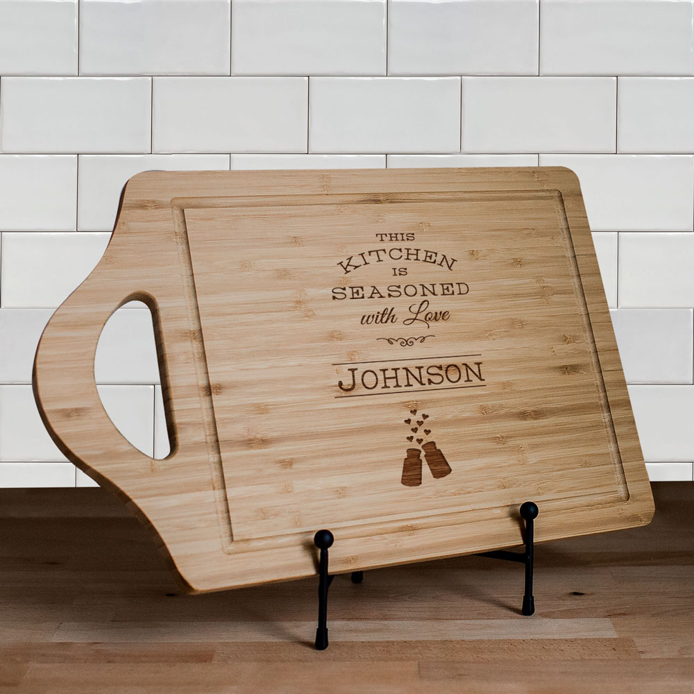 Engraved Seasoned with Love Cutting Board | Personalized Cutting Board