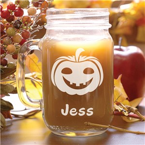 Engraved Halloween Pumpkin Mason Jar L967971