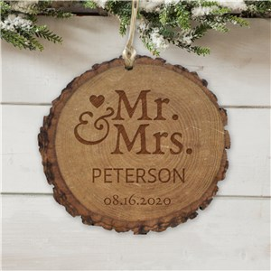 Personalized Mr. and Mrs. Round Rustic Wood Ornament | Personalized Couples Ornament