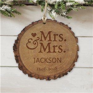 Personalized Mr. and Mrs. Round Rustic Wood Ornament