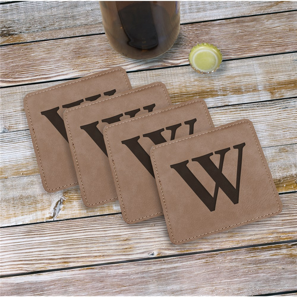Single Initial Engraved Coasters | Personalized Bar Gifts