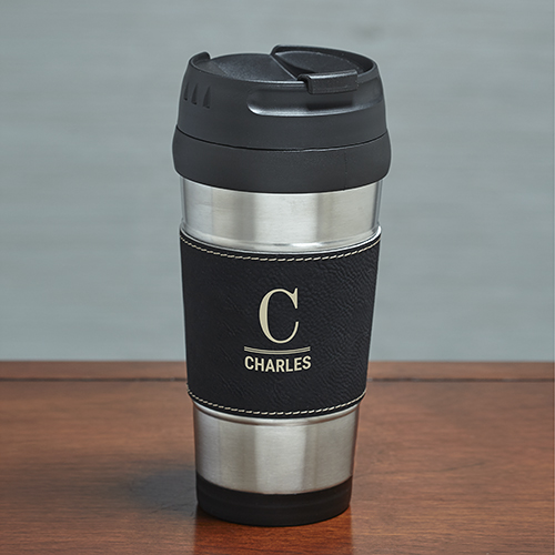 Engraved Initial and Name Black Leather Travel Mug L9903155