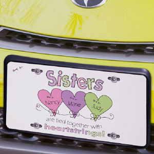 Heart Strings Sisters License Plate | Personalized Sister Gifts
