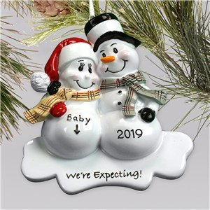 Personalized We're Expecting Ornament | Snowman | Personalized Couple Gifts