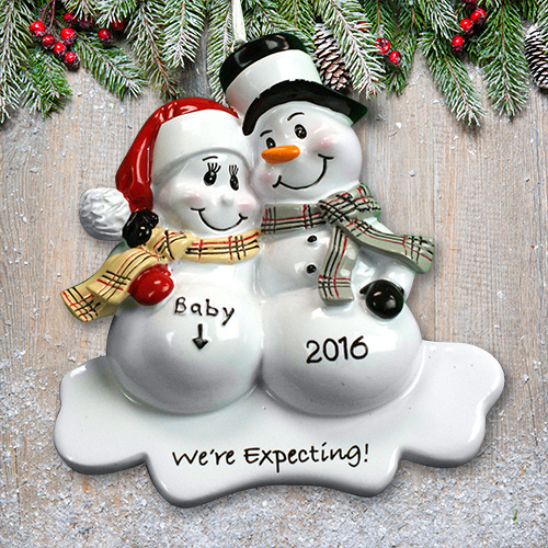 Personalized Snowman We're expecting Ornament | Personalized Couple Gifts
