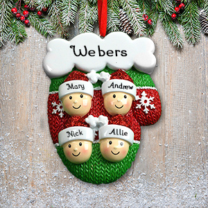 Personalized Mitten Family Ornament | Christmas Ornaments Personalized
