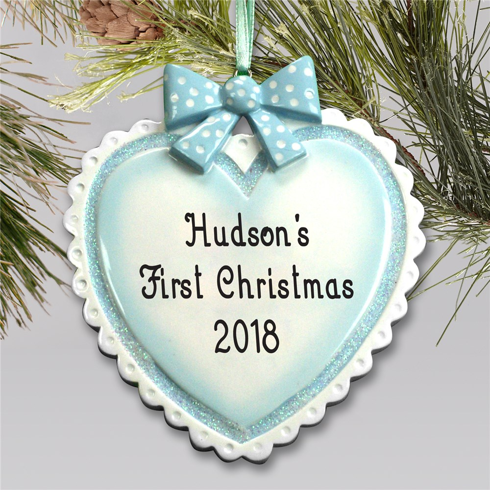 Baby Boy Personalized Heart Ornament | Baby's First Christmas Ornaments