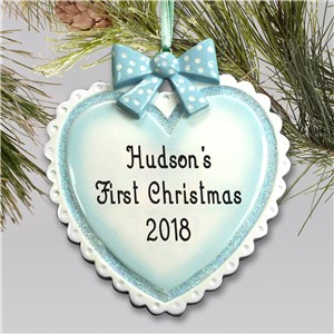 Personalized Baby Boy Heart Ornament | Baby's First Christmas Ornaments