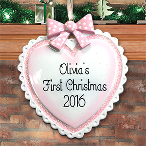 Personalized Baby Girl Heart Ornament