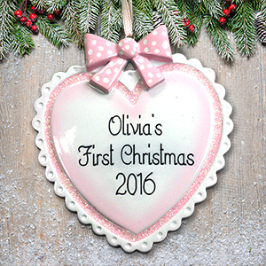 Personalized Baby Girl Heart Ornament | Baby's First Christmas Ornaments